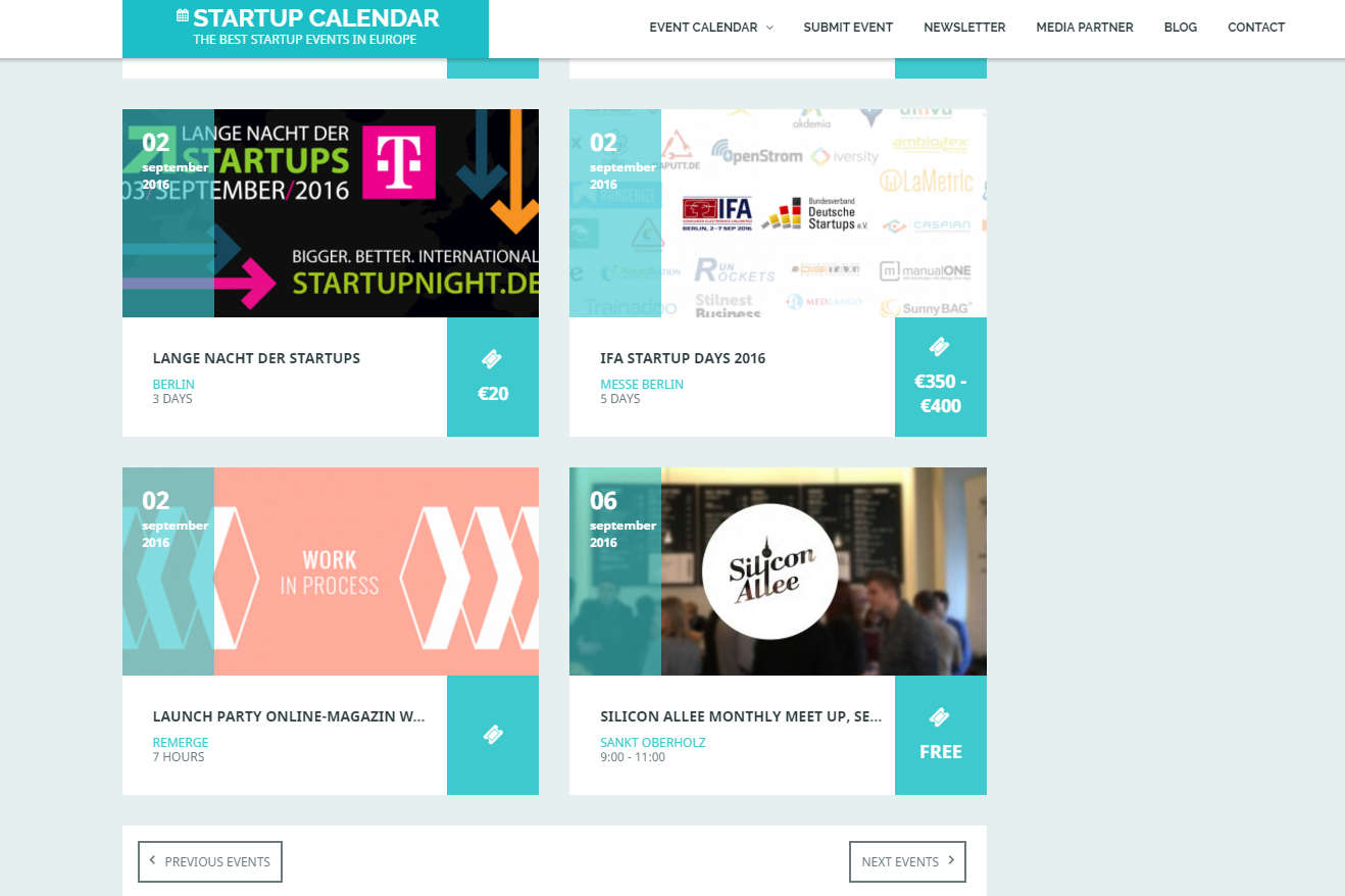 13 links to promote a Startup Event in Berlin